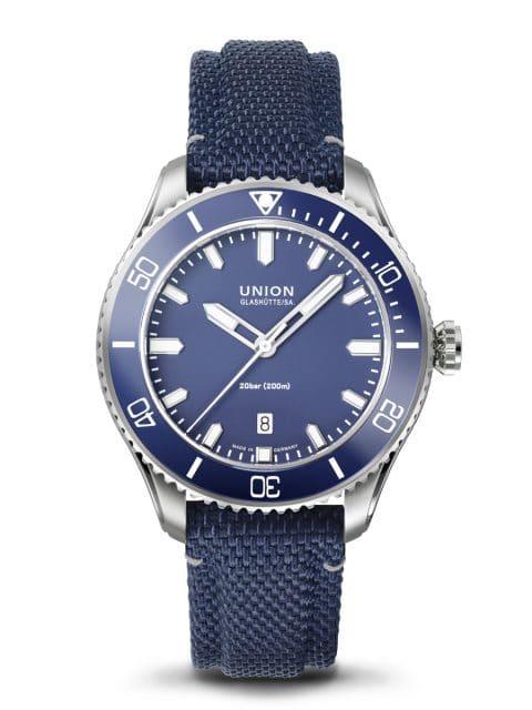 Union Glashütte: Belisar Datum Sport mit blauem Textilband