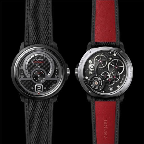 Durch den Saphirglasboden ist das Calibre 1 bei der Chanel Monsieur Superleggera Edition zu sehen