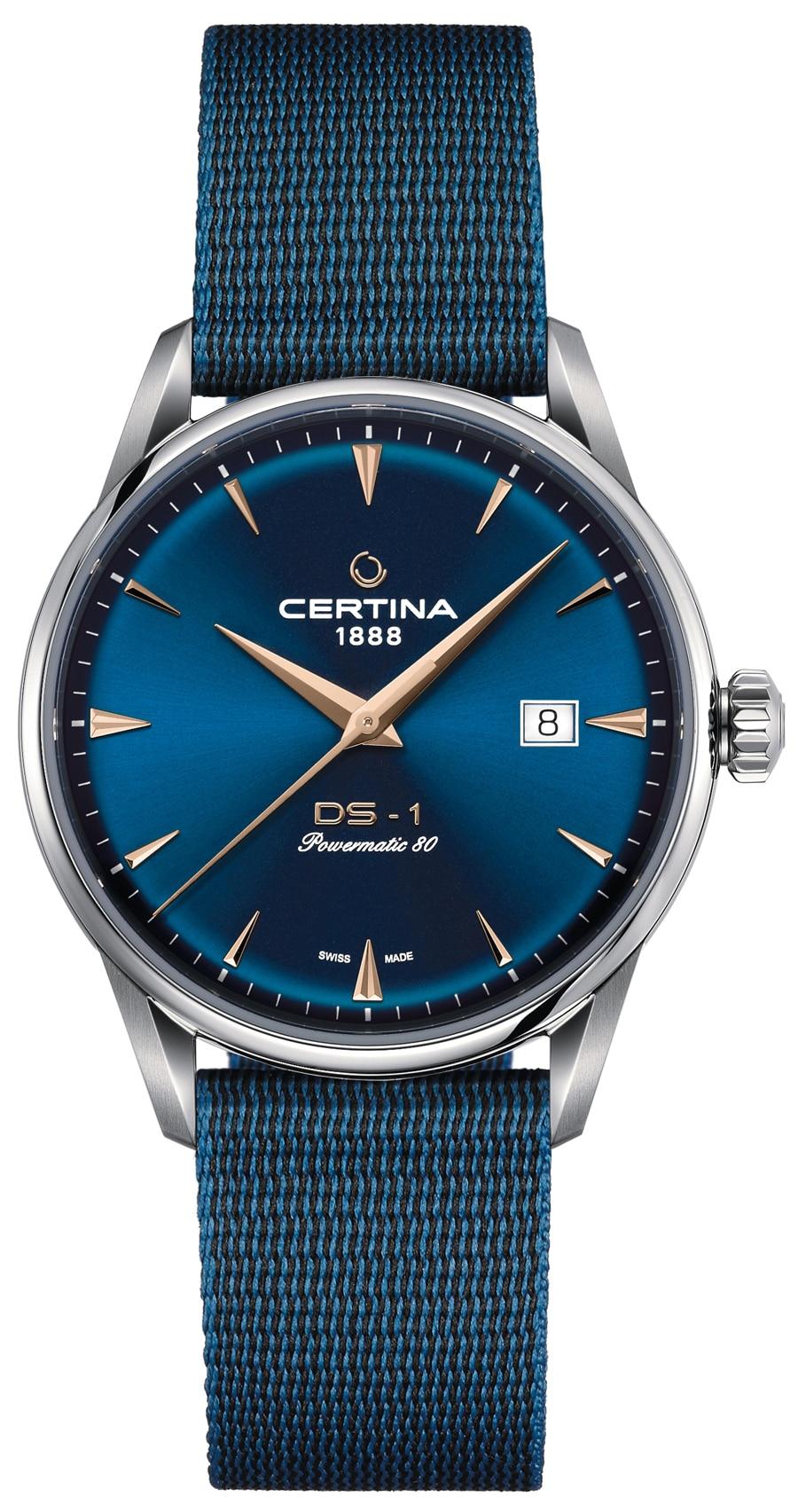 Certina: DS-1 Powermatic 80 blaues Textilband aus #tide ocean material® mit Dornschließe