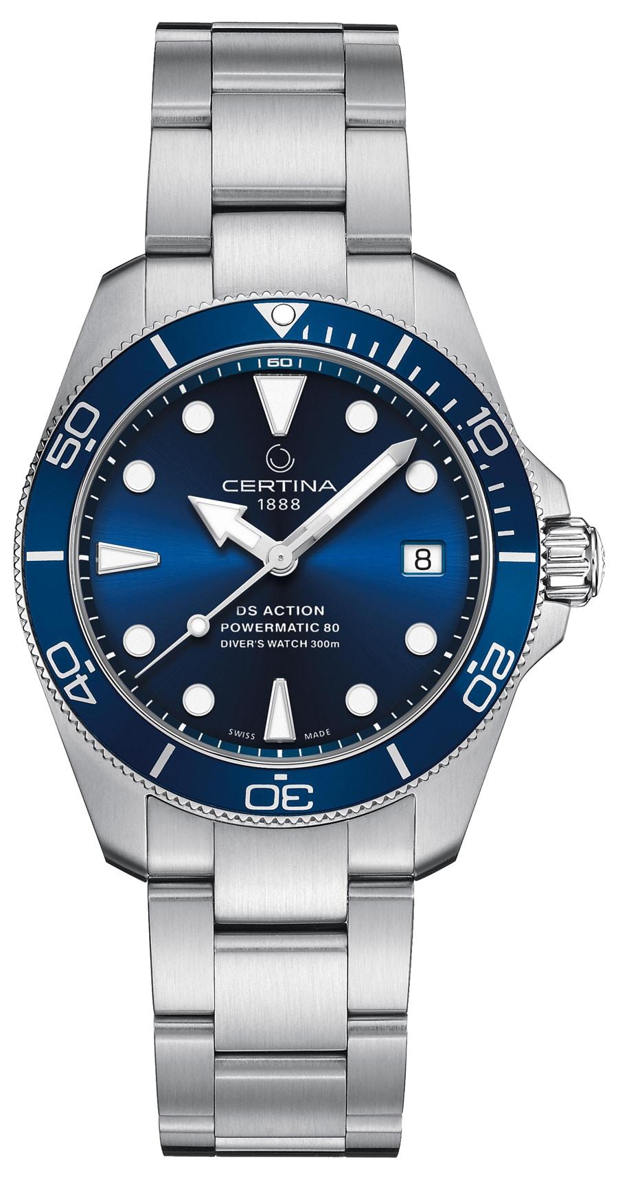 Certina: DS Action Diver blaues Zifferblatt blaue Lünette Edelstahlband