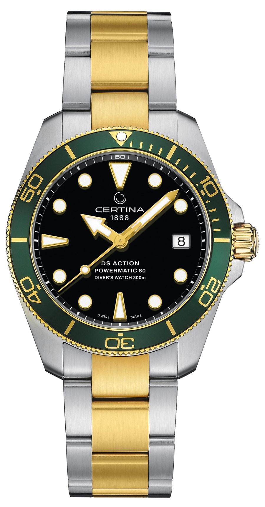 Certina: DS Action Diver schwarzes Zifferblatt grüne Lünette Bicolor