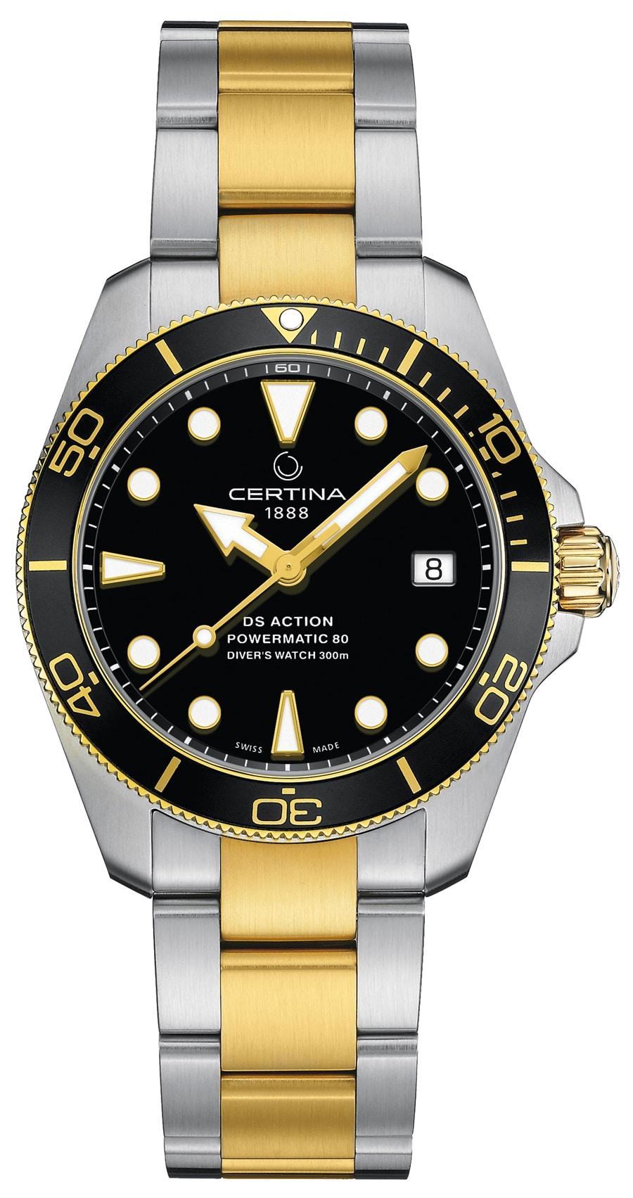 Certina: DS Action Diver schwarzes Zifferblatt schwarze Lünette Bicolor