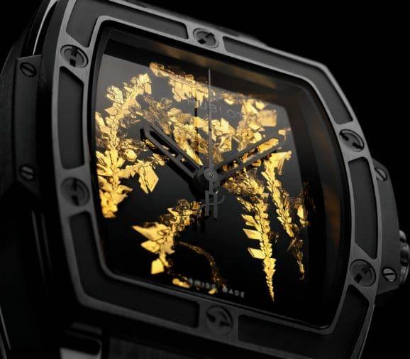Hublot: Zifferblattdetail der Spirit of Big Bang Gold Crystal