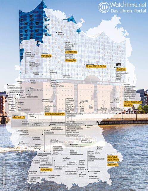 Special Deutsche Uhrenmarken Landkarte 2021